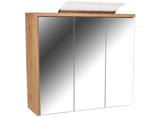 Spiegelschrank mit Led + Türdämpfer Opus Sps B: 90cm - Eichefarben, MODERN, Holzwerkstoff (90/71/18cm)