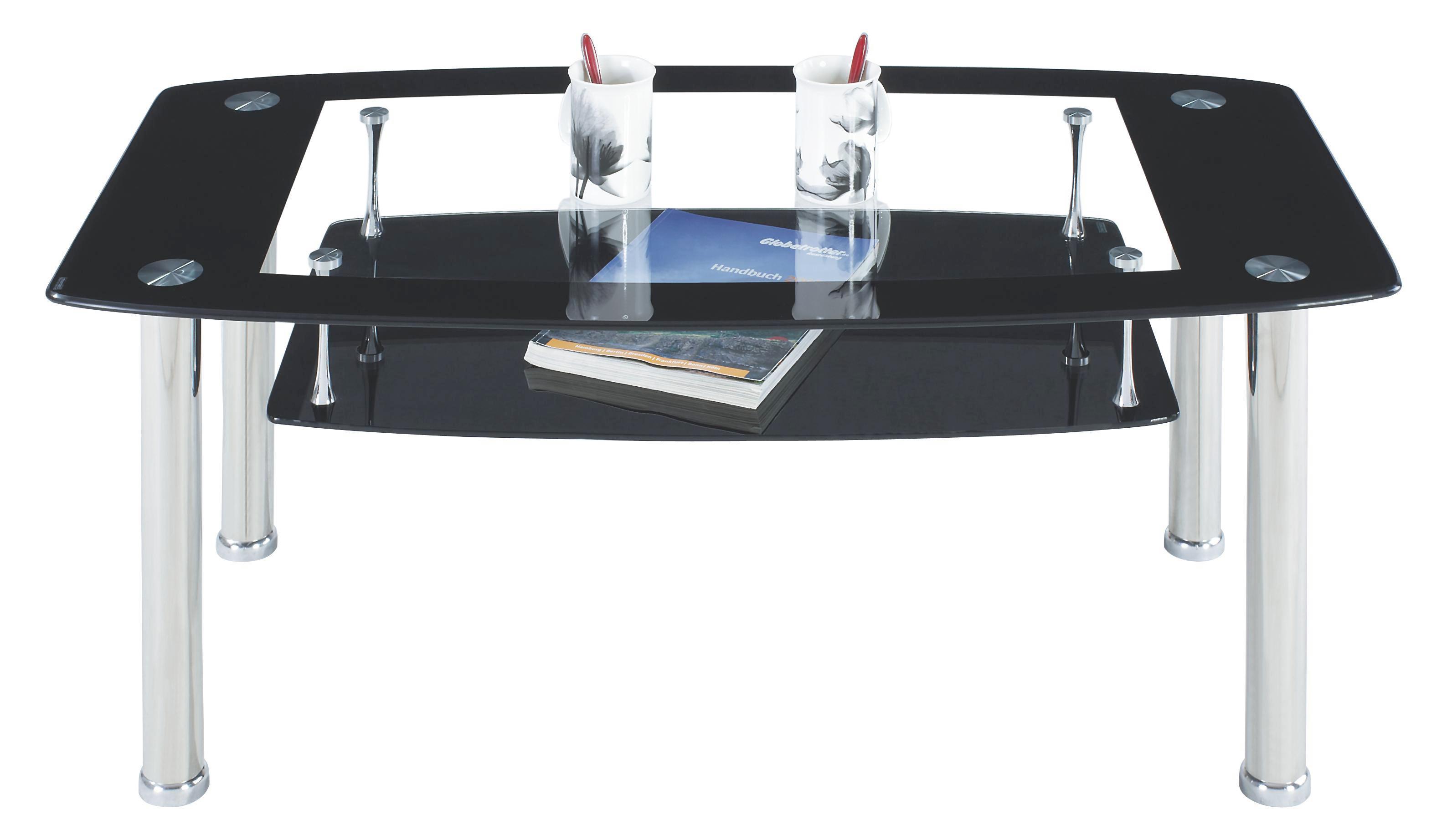 Dohányzóaszal Snapper - fekete/tiszta, modern, üveg/fém (110/45/60cm)