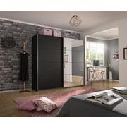 Schwebetürenschrank mit Spiegel 226cm Belluno, Grau Metallic - Dunkelgrau, MODERN, Holzwerkstoff (226/230/62cm)