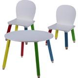 Kindertisch B: 60 cm Weiss - Blau/Gelb, Basics, Holzwerkstoff (60/43/60cm)