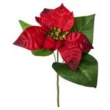 Kunstblume Poinsettie Burgi Rot - Rot/Weiß, Basics, Kunststoff/Textil (35cm)
