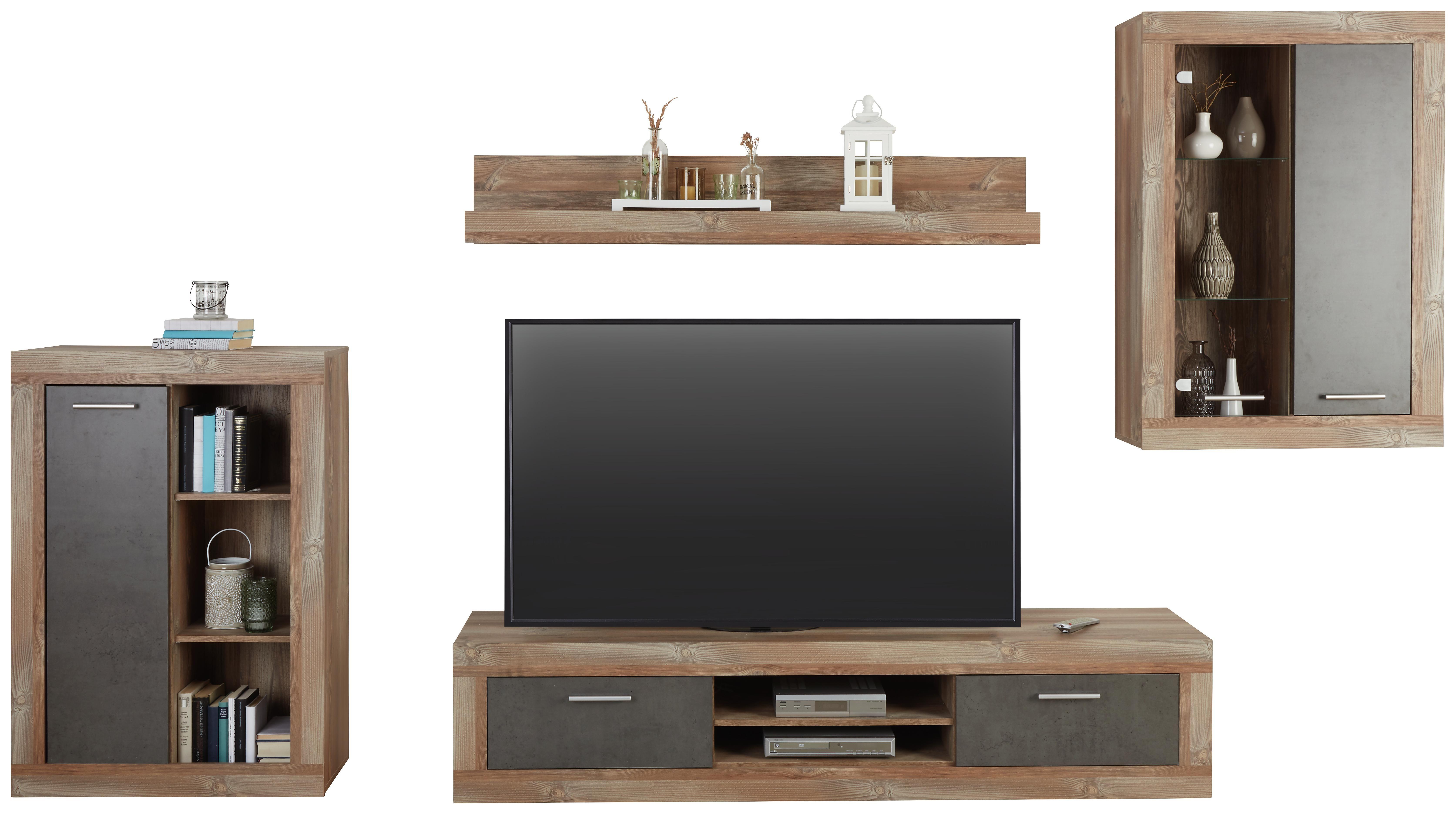 Obývací Stěna Jao - barvy borovice/šedá, Moderní, kov/kompozitní dřevo (298-318/196/41cm) - Modern Living