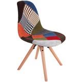 Schalenstuhl Patchwork Multicolor Gepolstert - Buchefarben/Multicolor, MODERN, Holz/Kunststoff (48/83,5/55,5cm) - Ombra