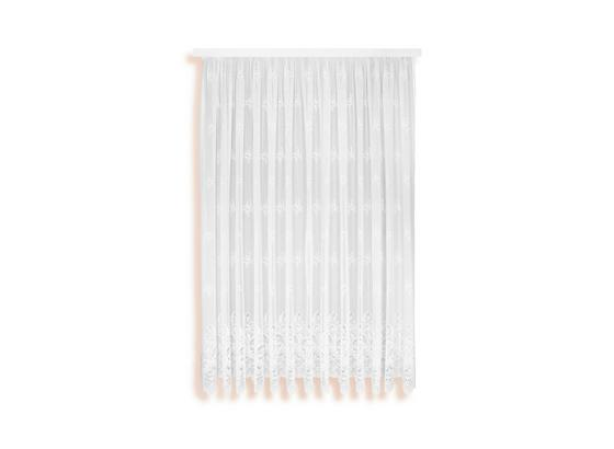 Blumenfensterstore Andrea - Weiß, KONVENTIONELL, Textil (450/175cm) - Ombra