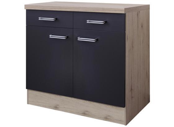Kuchyňská Spodní Skříňka Milano - barvy dubu/antracitová, Moderní, kompozitní dřevo (80/86/60cm)