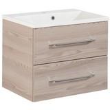 Waschtischkombi mit Soft-Close B. Clever B: 60 cm Esche Dekor - Eschefarben/Weiß, MODERN, Holzwerkstoff/Kunststoff (60cm) - MID.YOU