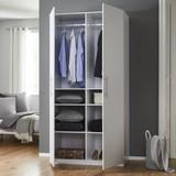 Skříň Basic - bílá, Moderní, dřevěný materiál (110/220/56cm) - Modern Living
