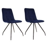 Stuhl-Set Lisa Samtbezug Dunkelblau Gepolstert, 2er-Set - Schwarz/Dunkelblau, Basics, Textil/Metall (44/87/58cm) - MID.YOU