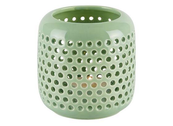Stojan Na Sviečku Amelie I - zelená, Štýlový, keramika (9,5cm)