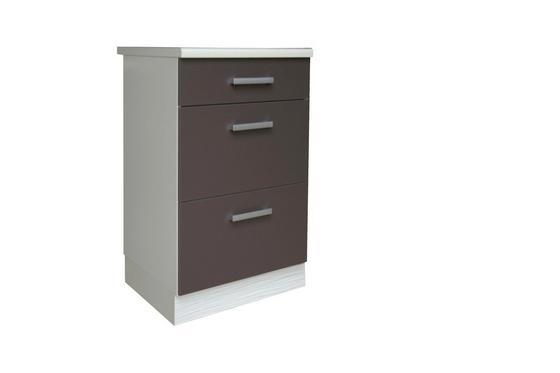 Spodní Skříňka Se Zásuvkami Margaret - bílá/šedá, Moderní, dřevěný materiál (40/85/52cm)