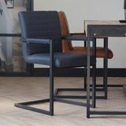 Armlehnstuhl-Set Kubis 2-er Set Dunkelblau - Blau/Schwarz, LIFESTYLE, Kunststoff/Metall (54/86/57cm) - MID.YOU