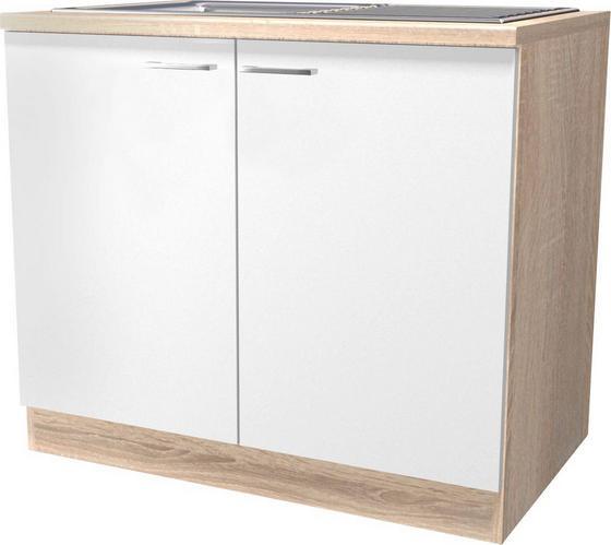 Dřezová Skříňka Samoa  Dspu 100 Es - bílá/barvy dubu, Konvenční, dřevěný materiál (100/85/57cm)