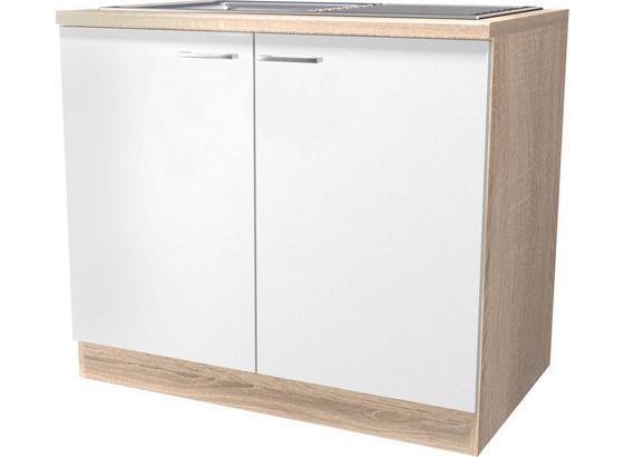 DŘEZOVÁ SKŘÍŇKA SAMOA  DSPU 100 ES - bílá/barvy dubu, Konvenční, kompozitní dřevo (100/85/57cm)
