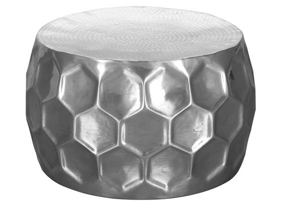 Cochtisch Rund Honigwabenform Honeycomb, Silberfarben - Silberfarben, LIFESTYLE, Metall (60/60/36cm) - Livetastic
