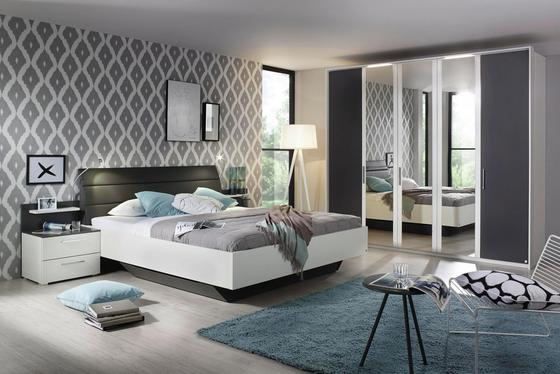 Bett Nicole 180x200 Alpinweiß - Graphitfarben/Weiß, KONVENTIONELL, Holzwerkstoff/Textil (187/101/223cm)