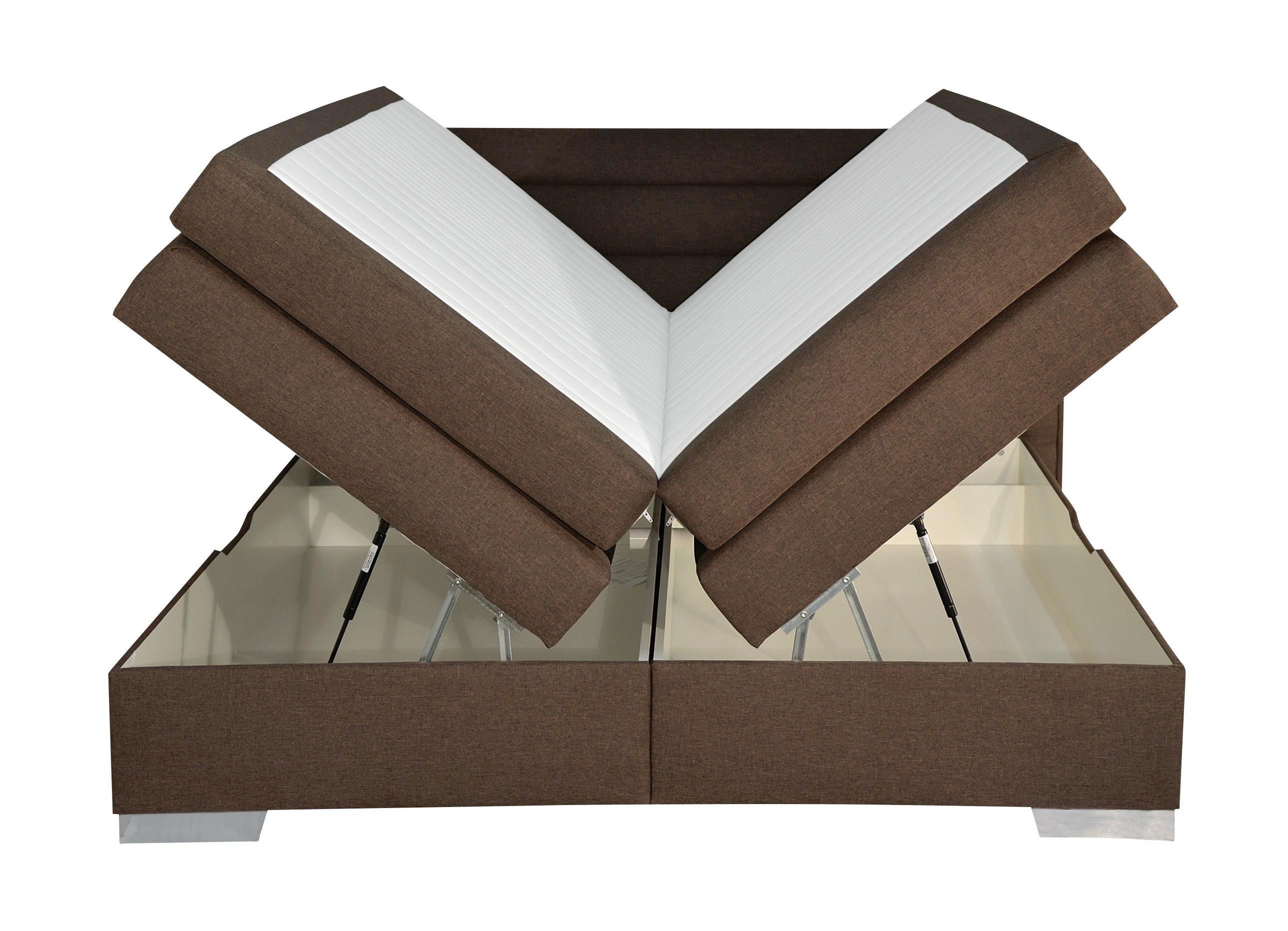 Boxspring Ágy Integra - barna, konvencionális (202/109/215cm)