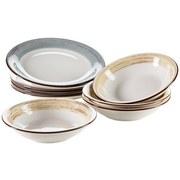 Tafelservice 8-Tlg Tafelservice Duole - Blau/Beige, Basics, Keramik - Mäser