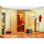 Sauna Toulon mit externer Steuerung - Naturfarben, MODERN, Holz (196/198/178cm) - Karibu