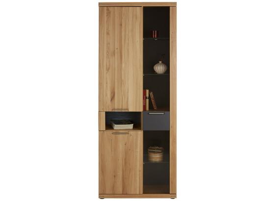 Vitrína Bianco - barvy dubu/barvy grafitu, Konvenční, dřevo/kompozitní dřevo (80/199/37cm) - Zandiara