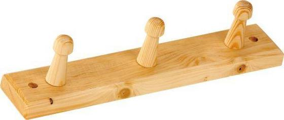 Hakenleiste Clip 3 - Kieferfarben, Design, Holz (30/5,5cm)