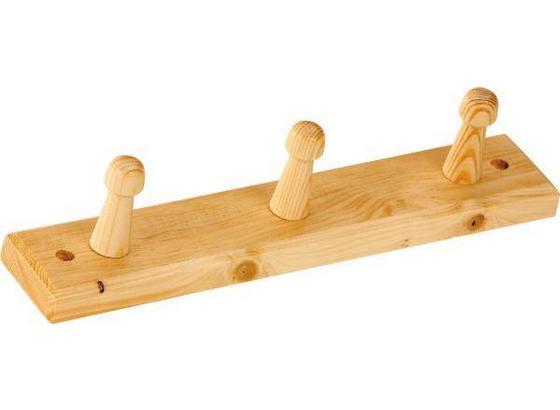 Lišta S Háčky Clip 3 - barvy borovice, Design, dřevo (30/5,5cm) - Carryhome