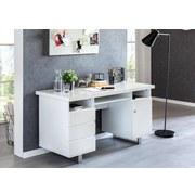 Schreibtisch Sally B: ca. 140 cm Weiß - Silberfarben/Weiß, MODERN, Holzwerkstoff/Metall (140/76/60cm) - MID.YOU