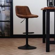 Barhocker-Set Ezra B: 49 cm Braun - Schwarz/Braun, LIFESTYLE, Textil/Metall (49/87/43cm) - MID.YOU