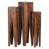 Blumentischset Kada 3-er Set - Akaziefarben, Design, Holz (25/25/100cm) - MID.YOU