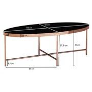 Couchtisch Glas Oval mit Stahlgestell, Schwarz/Kupfer - Schwarz/Kupferfarben, Design, Glas/Metall (110/56/41cm) - MID.YOU