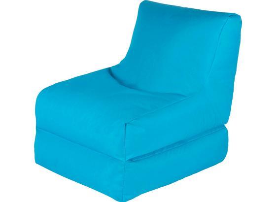 sitzsack in blau zum ausklappen. Black Bedroom Furniture Sets. Home Design Ideas