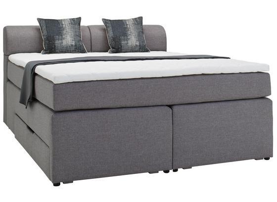 Posteľ Boxspring Flexi - sivá/antracitová, Moderný, kompozitné drevo/textil (160/200cm) - Modern Living