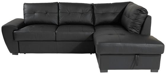 Sarokgarnitúra Burner Ii - fekete, modern, bőr/textil (244/174cm)