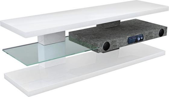 Médiaállvány Adriano - fehér, modern, üveg/faanyagok (140/45/39cm)