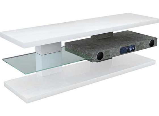 Stolek Na Elektroniku Adriano - bílá, Moderní, kompozitní dřevo/sklo (140/45/39cm)