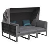 Loungegarnitur Besimi 4-teilig inkl. Kissen - Blau/Grau, MODERN, Kunststoff/Textil