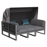 Loungegarnitur Besimi - Blau/Grau, MODERN, Kunststoff/Textil