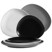 Teller Glendale 6-Tlg. - Schwarz/Weiß, Basics, Keramik (19,5/32,5/29,5cm)