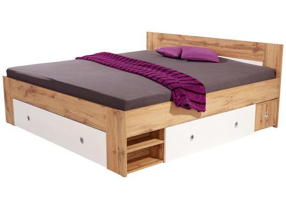 Posteľ Azurro 180 - farby dubu/biela, Moderný, kompozitné drevo (204/75/185cm)