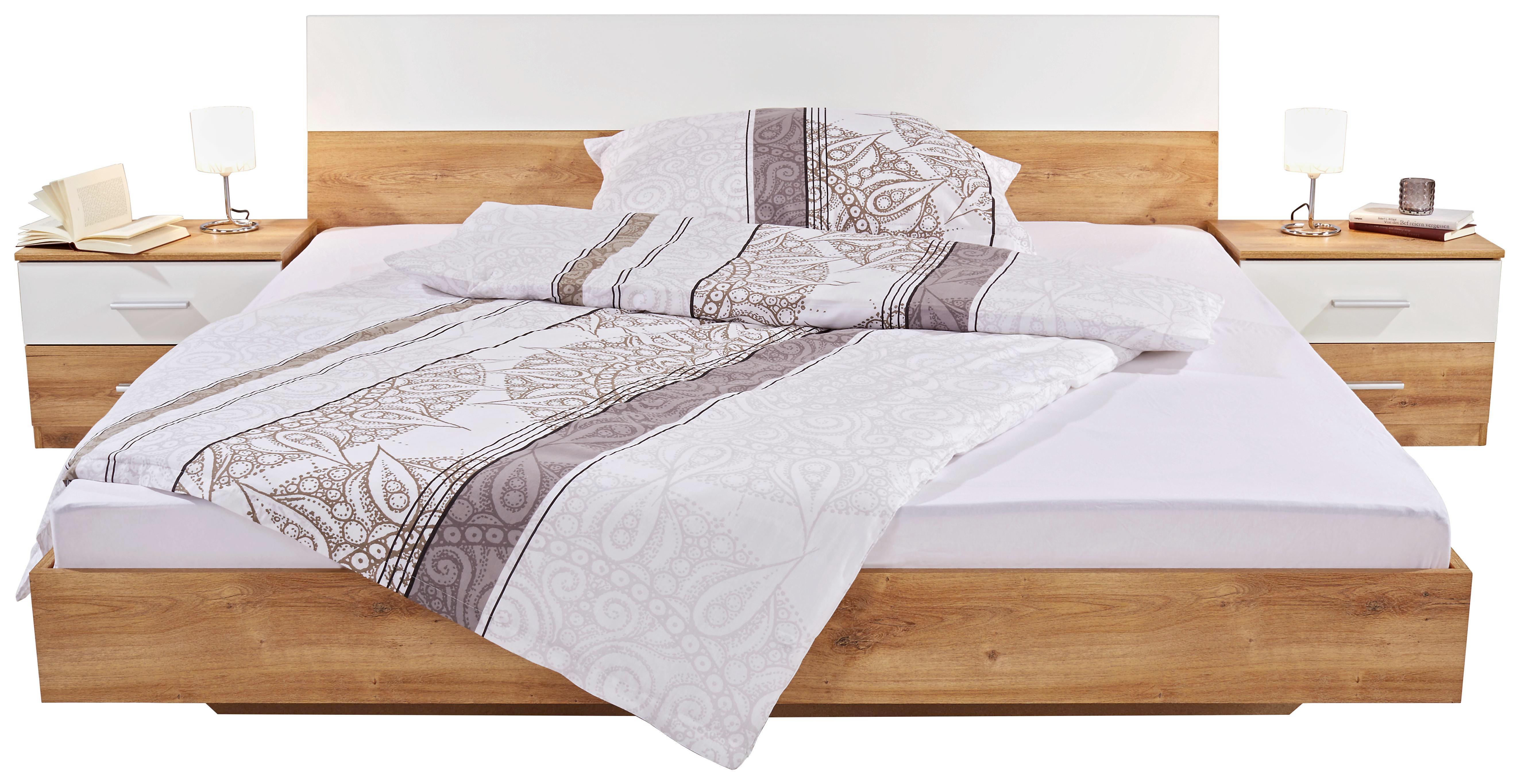 Ložnice Katrin - bílá/barvy dubu, Konvenční, dřevěný materiál (225/210/58cm)