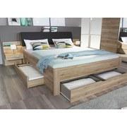 Bett inkl. Nachkästchen+Laden 180x200 Bensheim, Eichefarben - Eichefarben/Dunkelbraun, Design, Holzwerkstoff/Textil (180/200cm) - Livetastic