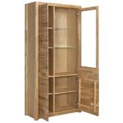 Vitrine Fenja B:98cm Massiv, Wildeiche - Eichefarben, Design, Glas/Holz (98/203/40cm) - MID.YOU