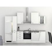 Küchenblock Wito 310cm Weiß - Edelstahlfarben/Weiß, MODERN, Holzwerkstoff (310cm) - MID.YOU