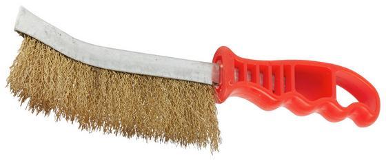 Drahtbürste Griff aus Kunststoff - Rot, KONVENTIONELL, Kunststoff/Metall (26/30cm) - Gebol