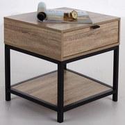 Noční/přístavní Stolek Industry - černá/přírodní barvy, Moderní, kov/kompozitní dřevo (45/45/39,5cm) - Luca Bessoni