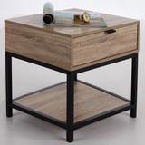 Nočný/prístavný Stolík Industry - prírodné farby/čierna, Moderný, kov/kompozitné drevo (45/45/39,5cm) - Luca Bessoni