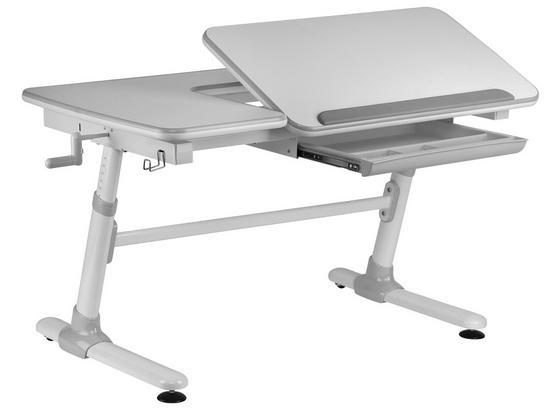 Jugendschreibtisch Comfortline B: 119 cm Weiß - Weiß/Grau, MODERN, Holzwerkstoff/Kunststoff (119/56-80/73cm) - MID.YOU