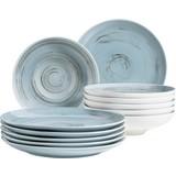 Tafelservice 12-Tlg Tafelservice Derby - Blau, Basics, Keramik (32/32/30cm) - Mäser