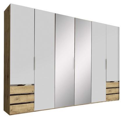 Sechstüriger Schrank in Weiß und Eiche Dekor mit Schubladen und Spiegel