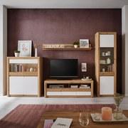 Wohnkombination Kashmir New 2 - Eichefarben/Weiß, MODERN, Holzwerkstoff (299/192/49cm) - James Wood