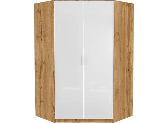 Rohová Skříň Celle - bílá/barvy dubu, Moderní, kompozitní dřevo (117/197/117cm)